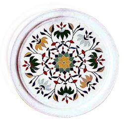 White Marble Carved Circular Table Top